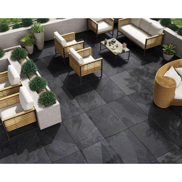 Total Tile and Bathrooms | Brazilian Black 60 x 90 x 2cm | Outdoor Paver | Roomset 2