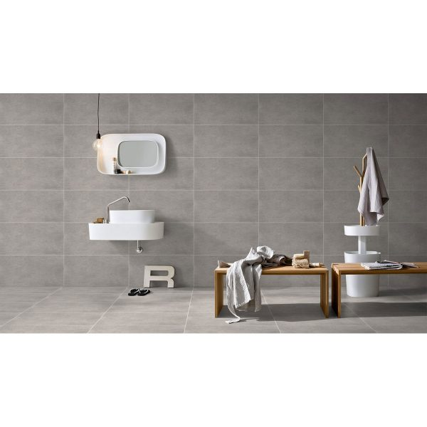 Total Tile and Bathrooms | Crewe | Cheshire | Cementk Grey Tile | Roomset