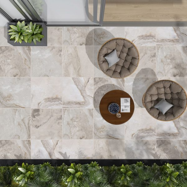 Total Tile and Bathrooms | Cora Beige 60 x 60 x 2cm | Outdoor Paver | Roomset