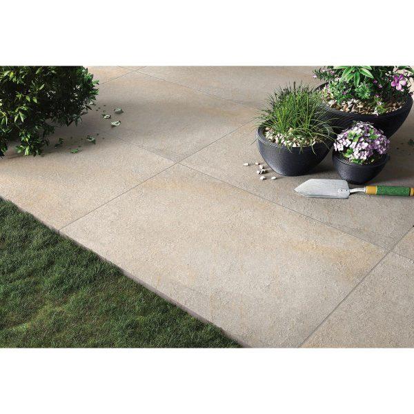 Total Tile and Bathrooms   Hazle Stone Ash 60 x 90 x 2cm   Outdoor Paver   Roomset 1