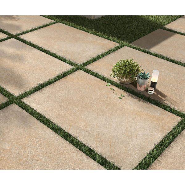 Total Tile and Bathrooms | Hazle Stone Beige 60 x 90 x 2cm | Outdoor Paver | Roomset 1