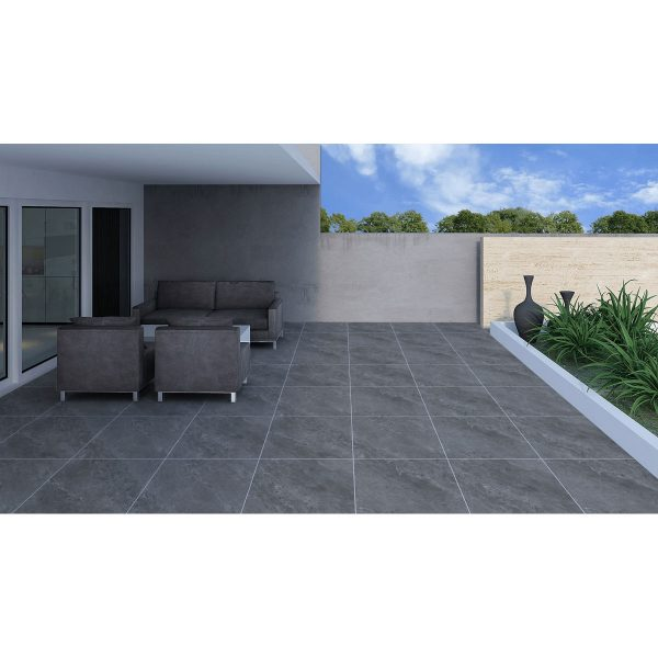 Total Tile and Bathrooms   Jupiter Anthracite 60 x 60 x 2cm   Outdoor Paver   Roomset