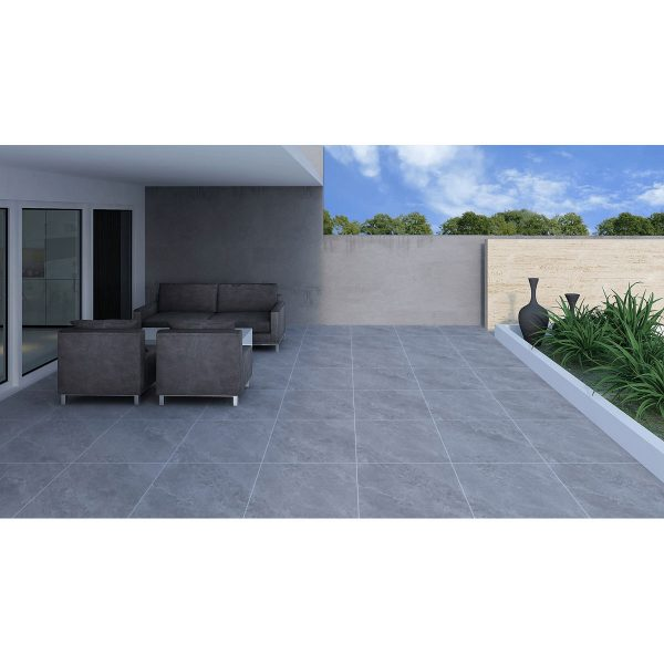 Total Tile and Bathrooms   Jupiter Grey 60 x 60 x 2cm   Outdoor Paver   Roomset