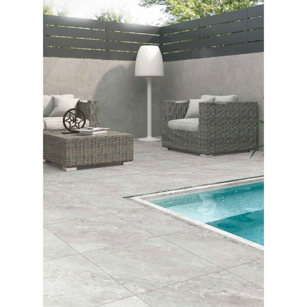 Total Tile and Bathrooms | Jupiter Moon Light 60 x 60 x 2cm | Outdoor Paver | Roomset