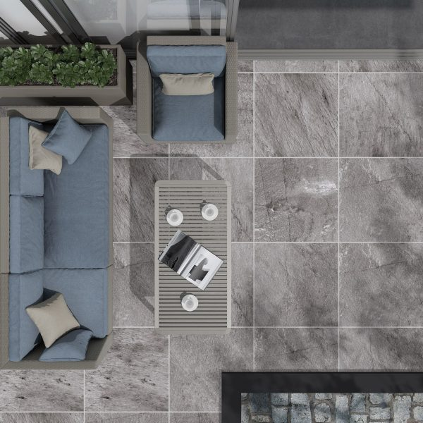 Total Tile and Bathrooms | Jura Anthracite 60 x 60 x 2cm | Outdoor Paver | Roomset