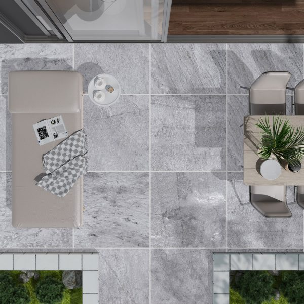 Total Tile and Bathrooms | Jura Grey 60 x 60 x 2cm | Outdoor Paver | Roomset