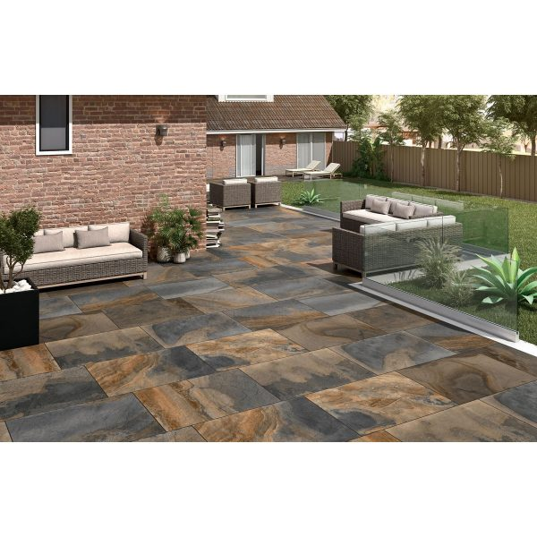 Total Tile and Bathrooms   Slate Impero Multi Coloured 60 x 90 x 2cm   Outdoor Paver   Roomset 3