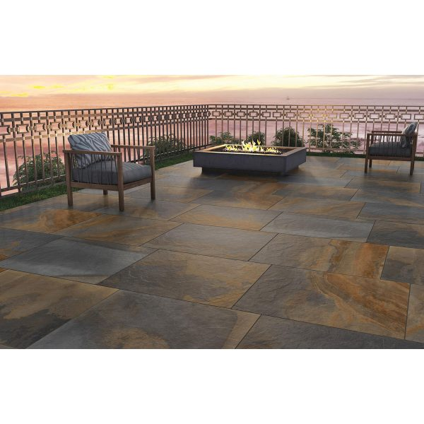 Total Tile and Bathrooms   Slate Impero Multi Coloured 60 x 90 x 2cm   Outdoor Paver   Roomset 4